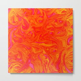 Orange on Fire with Swirls of Pink and Yellow Metal Print