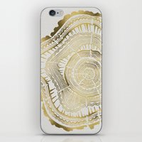 black iPhone & iPod Skins featuring Gold Tree Rings by Cat Coquillette