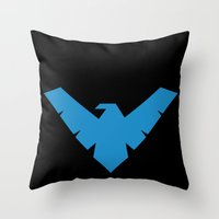 nightwing Throw Pillows featuring Nightwing by Yesi Danderfer