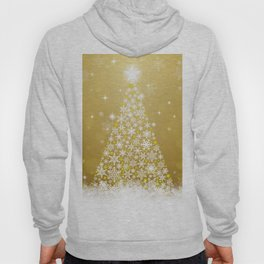 Gold Snowflakes Sparkling Christmas Tree Hoody