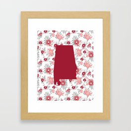 Alabama state silhouette university of alabama crimson tide floral college football gifts Framed Art Print