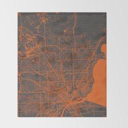 Detroit map Throw Blanket