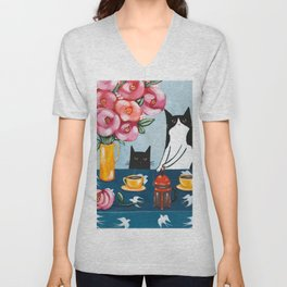 Cats and French Press Coffee Unisex V-Neck