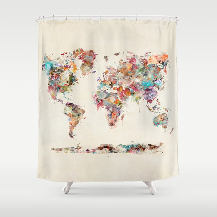 World Map Watercolor Deux Shower Curtain By Bribuckley