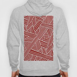 Abstract Navy Red & White Lines and Triangles Pattern Hoody