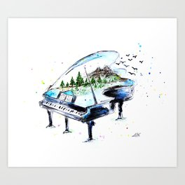 Piano with nature Art Print