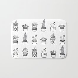 Cacti Line Drawing Bath Mat