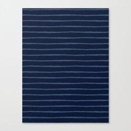 Hand Drawn Stripes Pattern Indigo Blue Grunge Canvas Print