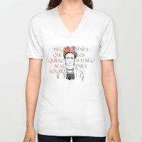 frida V-neck T-shirts featuring frida by Vickn