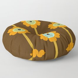 Cool Cat - minimal retro vibes floral flower power 1970s style throwback colors decor 70's Floor Pillow