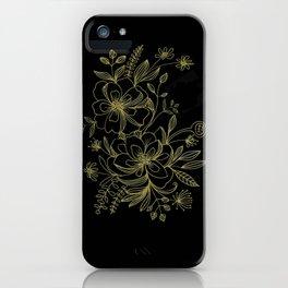 Gold Line Florals iPhone Case