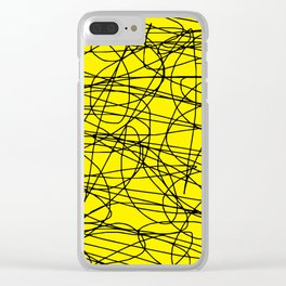Yellow with black scribbling lines, less is more Clear iPhone Case