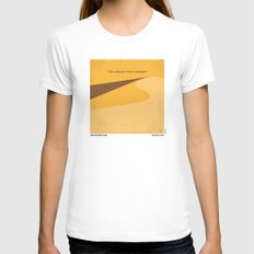 No251 My DUNE minimal movie poster White MEDIUM Womens Fitted Tee