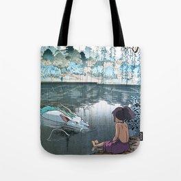Haku and Chihiro woodblock mashup Tote Bag