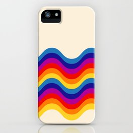 Wavy retro rainbow iPhone Case