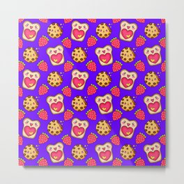 Cute funny sweet adorable happy Kawaii toast with raspberry jam and butter, chocolate chip cookies, red ripe summer strawberries cartoon fantasy purple pink pattern design Metal Print