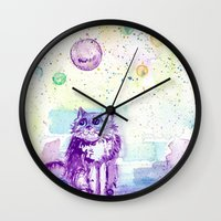 space cat Wall Clocks featuring Space Cat! by Colorful Simone