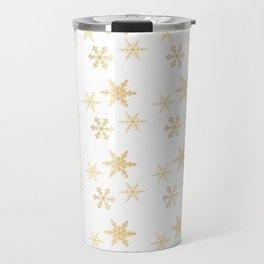 Snowflakes on White Travel Mug