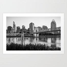 Black and White Cincinnati Skyline View Art Print