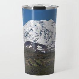 Summer mountain landscape, view of snowcapped cone of volcano on Kamchatka Peninsula Travel Mug
