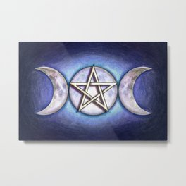 Moon Pentagram - Tripple Moon I Metal Print