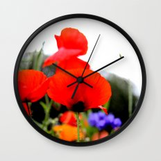 wild poppies Wall Clock