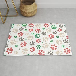 Trace doodle paw prints with stars seamless pattern background with Christmas new years white background Rug