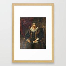 Jacob JORDAENS - 1641 - Portrait of an old woman Framed Art Print