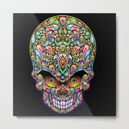 Psychedelic Skull Art Design Metal Print