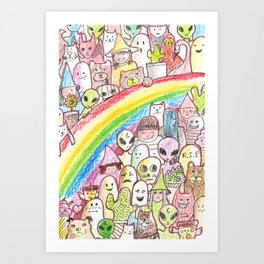 kawaii rainbow party Art Print