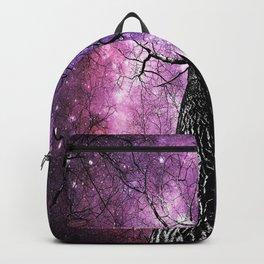 Wintry Trees Pink Purple Galaxy Skies Backpack