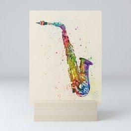 Saxophone Abstract Watercolor Mini Art Print