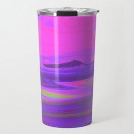 """Pixel Beach"" (Pink/Purple/Yellow) Digital Painting // Fine Art Print Travel Mug"