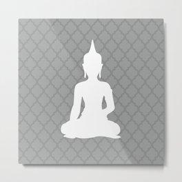 Grey and White Buddha Metal Print
