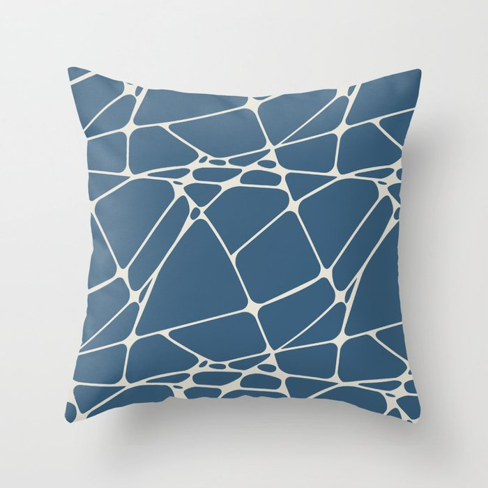 Linen White & Blue Abstract Mosaic Pattern 1 Pairs To 2020 Color of the Year Chinese Porcelain Throw Pillow