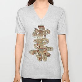 Chinese 'Shou' longevity character - silk embroidered calligraphy - lucky cursive symbol Unisex V-Neck