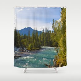 Maligne River & Pyramid Mountain in Jasper National Park, Canada Shower Curtain
