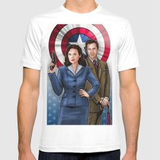 Peggy and Jarvis SMALL White Mens Fitted Tee
