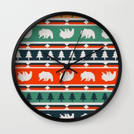 Winter bears and trees Wall Clock