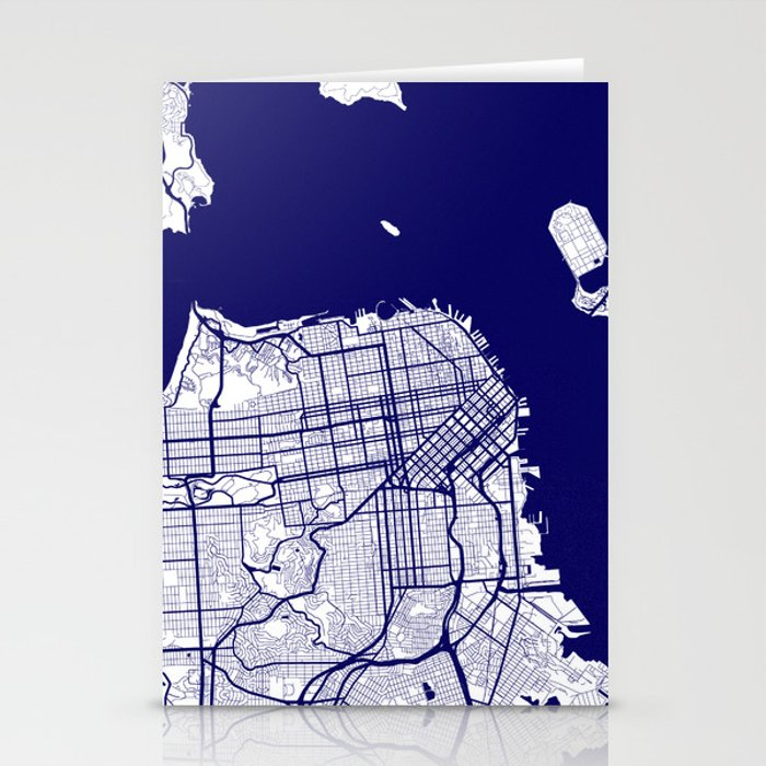 San Francisco City Map 02 Stationery Cards