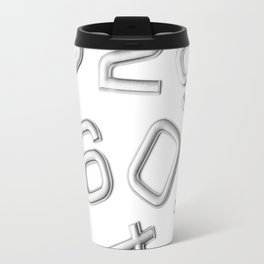 Silver numbers on white Travel Mug