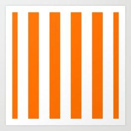 Bright Tumeric Orange and White Wide Vertical Cabana Tent Stripe Art Print