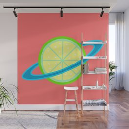 Planet Lime | Lime | Citrus | Fruit | Solar System | Planets | pulps of wood Wall Mural