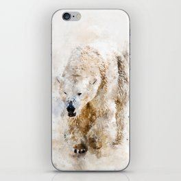 Abstract watercolor polar bear iPhone Skin