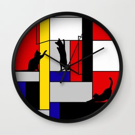cat Mondrian Wall Clock