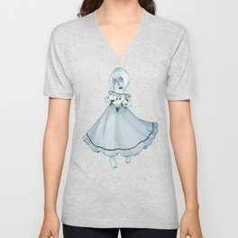Luna holding Moonflowers Unisex V-Neck