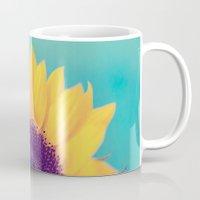 sunflower Mugs featuring Sunflower by Debbie Wibowo