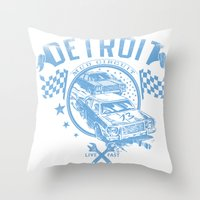 detroit Throw Pillows featuring Detroit by Tshirt-Factory