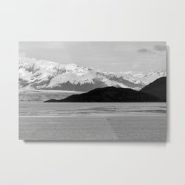 Alaska Glacier Snow Mountains Black And White Metal Print