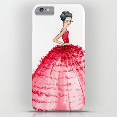 Red Couture Gown Watercolor Fashion Illustration Slim Case iPhone 6 Plus